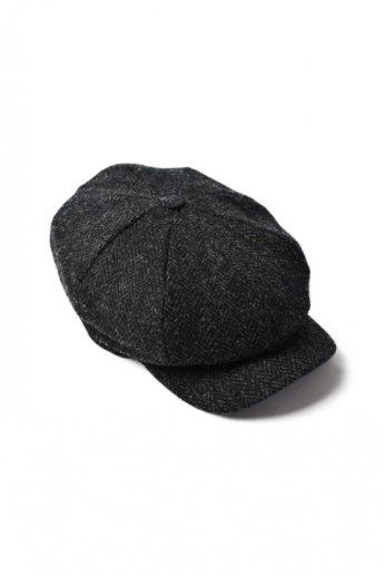 Hanna Hats(ハンナハッツ) Abbey Cap Tweed チャコール ヘリンボーン