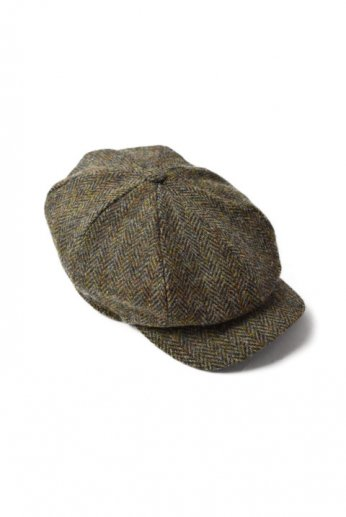 Hanna Hats(ハンナハッツ) Abbey Cap Tweed オリーブ ヘリンボーン