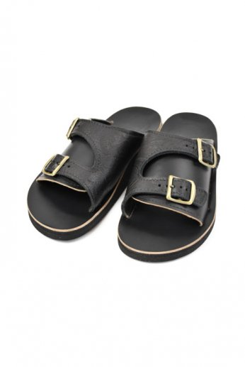THE SANDALMAN(サンダルマン) DOUBLE BUCKLE SANDAL vibram Black/Black