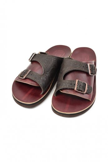 THE SANDALMAN(サンダルマン) DOUBLE BUCKLE SANDAL vibram Chocolate/burgundy