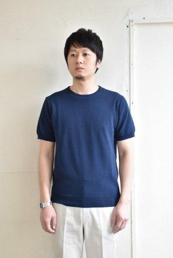 HARRISS(ハリス)半袖ニットTシャツ ネイビー