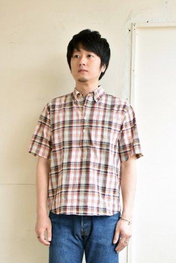 SERO(セロ)プルオーバーボタンダウンシャツ半袖 マドラスチェック オレンジ