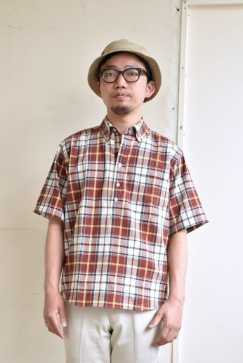 SERO(セロ)プルオーバーボタンダウンシャツ半袖 マドラスチェック ミディアムブラウン