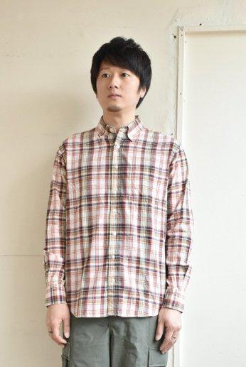 SERO(セロ)ボタンダウンシャツ長袖 マドラスチェック オレンジ
