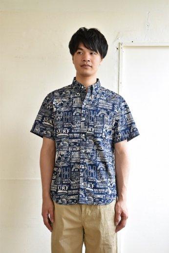 HARRISS(ハリス) HAWAII  ハワイボタンダウンシャツSurfing ネイビーブルー