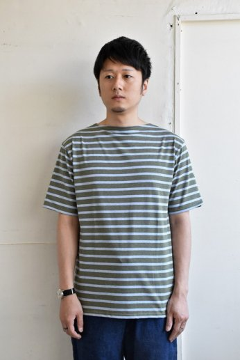 Saint James(セントジェームス) PIRIAC(ピリアック)半袖Tシャツ ALGUE/CIEL CHINE(オリーブ×杢サックス)