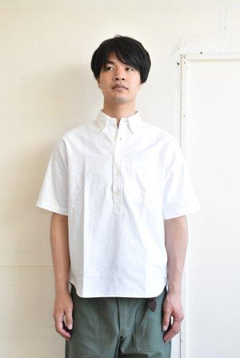 SERO(セロ)プルオーバーボタンダウンシャツ半袖 オックスフォード ホワイト