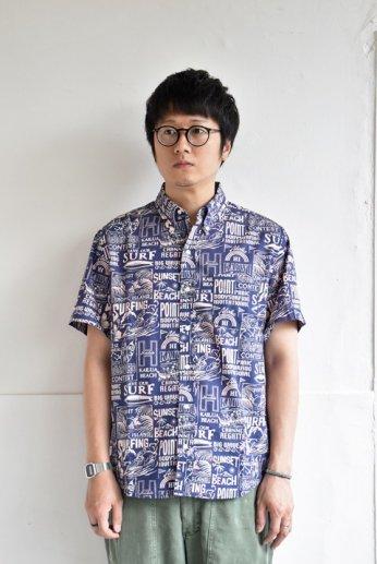 HARRISS(ハリス)  HAWAII ハワイアンボタンダウンシャツ ブリーチ ネイビー