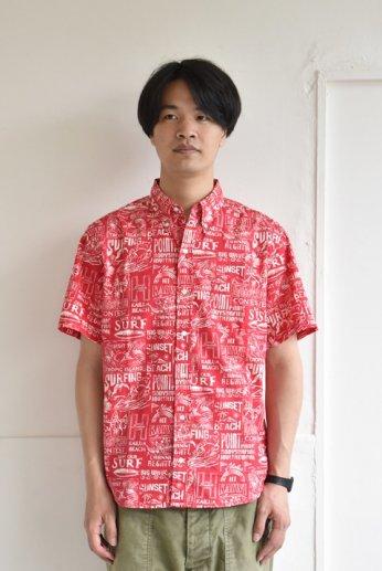 HARRISS(ハリス)  HAWAII ハワイアンボタンダウンシャツ ブリーチ レッド