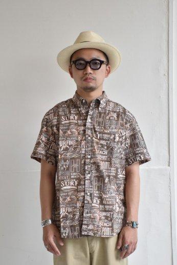 HARRISS(ハリス)  HAWAII ハワイアンボタンダウンシャツ ブリーチ ブラック