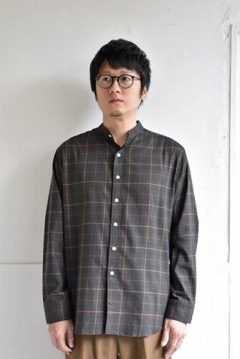 bettaku comfort(ベッタク コンフォート) バンドカラーシャツ ブラウン