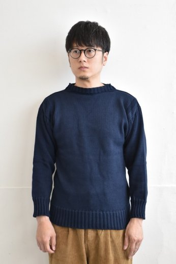 <img class='new_mark_img1' src='https://img.shop-pro.jp/img/new/icons13.gif' style='border:none;display:inline;margin:0px;padding:0px;width:auto;' />GUERNSEY WOOLLENS(ガンジーウーレンズ) COTTON TRADITIONAL GUERNSEY リッチネイビー