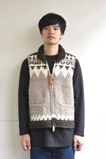 Canadian Sweater(カナディアンセーター)カウチンベスト ヘリテージ柄 ブラウン