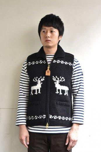 Canadian Sweater(カナディアンセーター)カウチンベスト トナカイ柄 ブラック