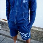 LOGO denim  SWEAT ショーツ