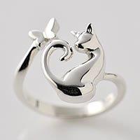 猫指輪リング「ネコと蝶」