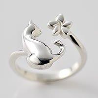 猫指輪リング「ネコと花」