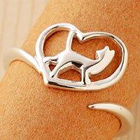 オープンハート猫指輪リング「大切」
