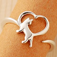 オープンハート猫指輪リング「大好き」