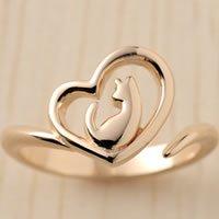 オープンハート猫指輪リング(ピンクゴールドコーティング)