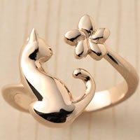 猫指輪リング「ネコと花」(ピンクゴールドコーティング)