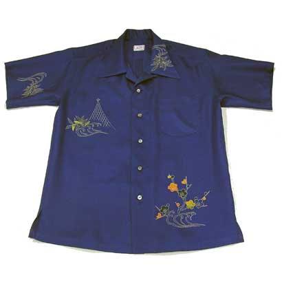 梅刺繍波模様のアロハシャツ(L)