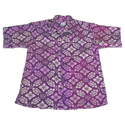 紫花葉模様のアロハシャツ(L)