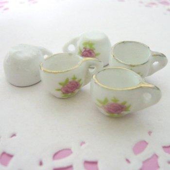 ミニチュア陶器製カップ ローズ柄 単品 「クロネコDM便対応可」