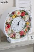 ご両親贈呈用に! アレンジプリザーブドフラワーの花時計アレンジメント-丸型(オーダーメイド)