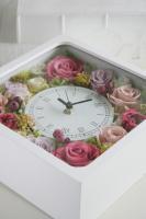 ご結婚祝いに! プリザーブドフラワーの花時計アレンジメント-角型(オーダーメイド)