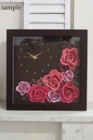 ご両親贈呈用に! プリザーブドフラワーの花時計アレンジメント-角型2(オーダーメイド)