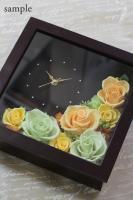 ご結婚祝いに! プリザーブドフラワーの花時計アレンジメント-角型2(オーダーメイド)