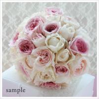 ピンク×アイボリーのイングリッシュローズの贅沢ラウンドブーケ(生花)