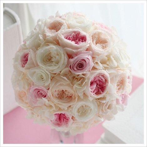 ホワイト×ピンクのイングリッシュローズ風ラウンドブーケ(プリザーブドフラワー/ピンク)