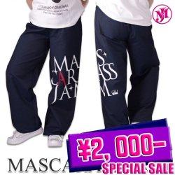 MJ☆デカロゴ脇縫い無しDDワイドパンツ(ネイビー/カラーデニム)