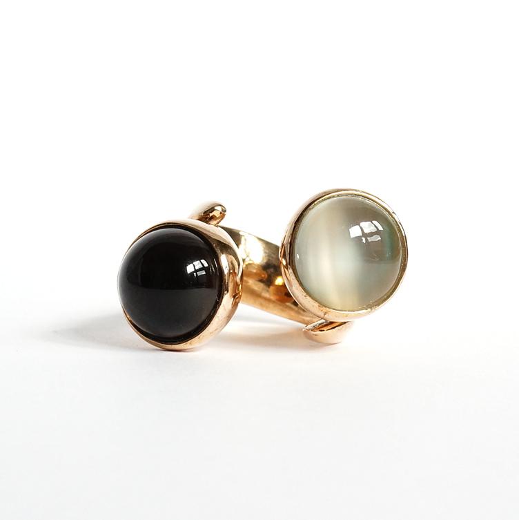 Monica Castiglioni / Y STONE RING (Bronze+Moonstone+Quarzo fume)