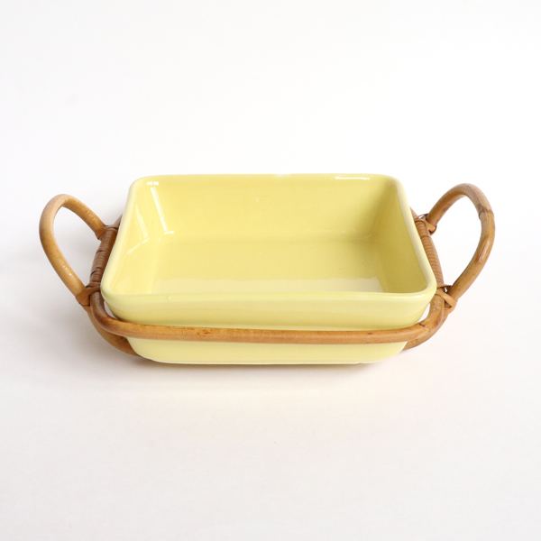 Kaj Franck/KILTA/Vegetable Dish with Rattan bases/Yellow
