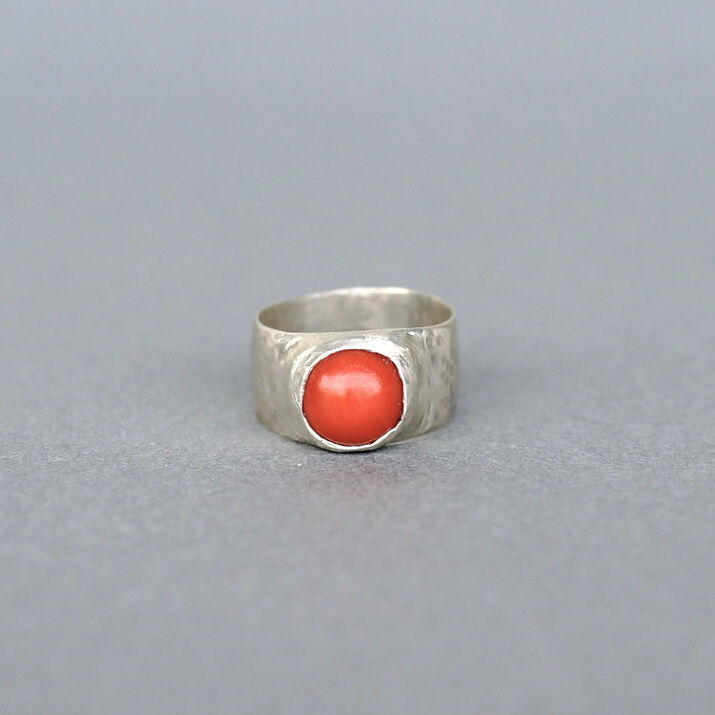 Melanie Decourcey/Silver Ring with Coral