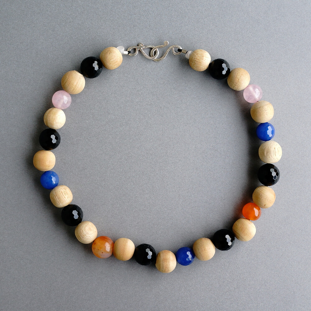 Melanie Decourcey/Beaded Necklace/Wood and Multi Color Stone Beads