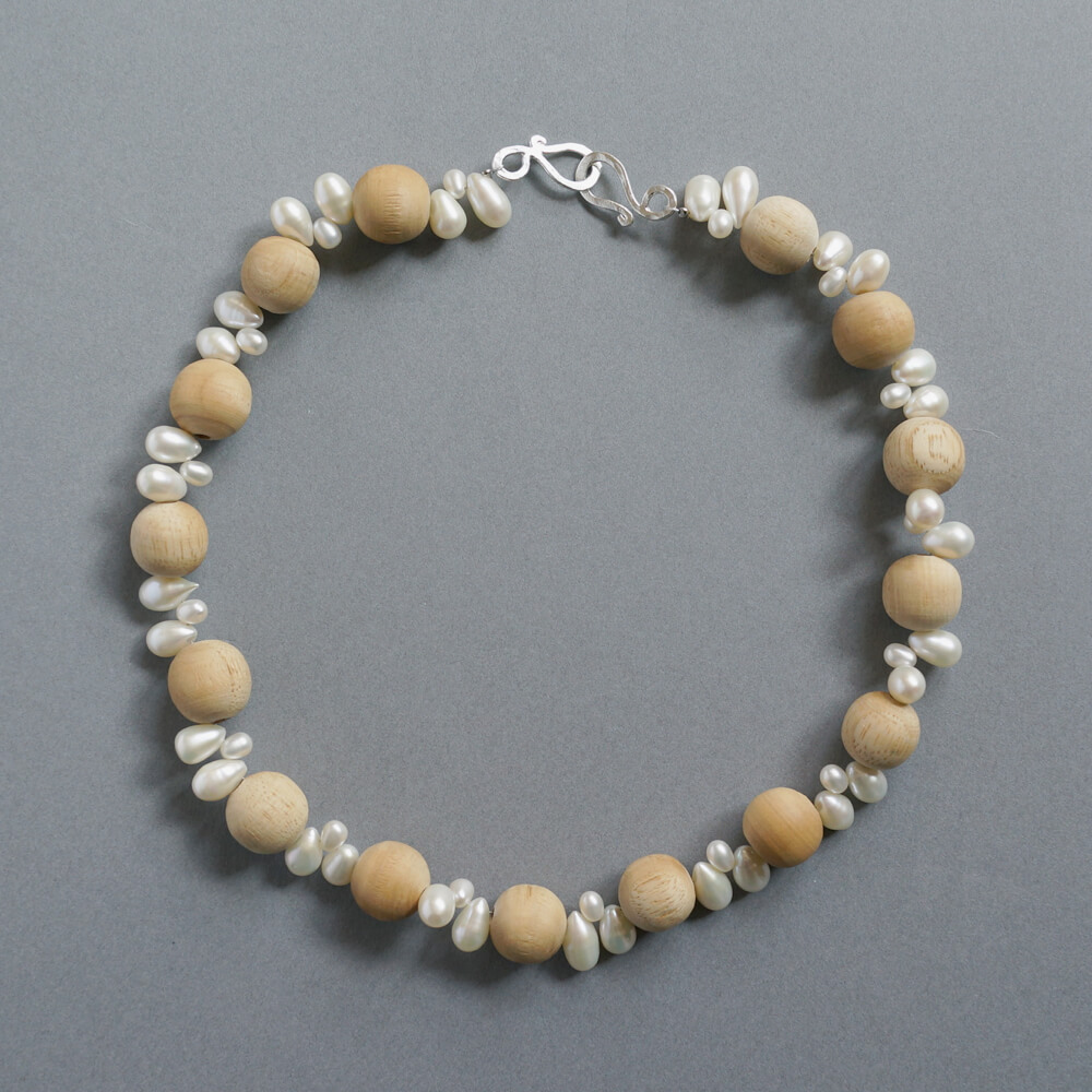 Melanie Decourcey/Beaded Necklace/Wood Beads with Drop Shaped Pearls