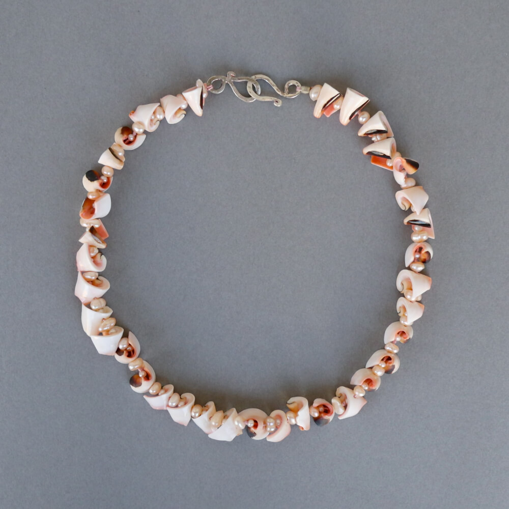 Melanie Decourcey/Beaded Necklace/Double Pearl and Shell Beaded