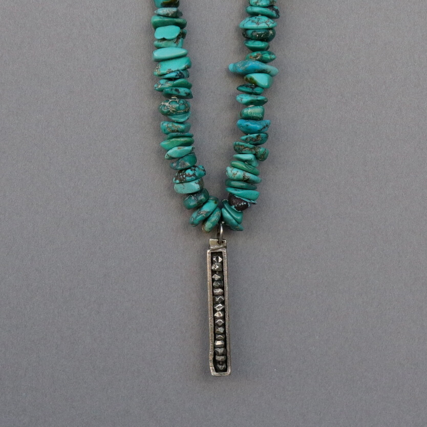 Melanie Decourcey/Beaded Necklace/Turquoise Beads Necklace with Silver Pendant