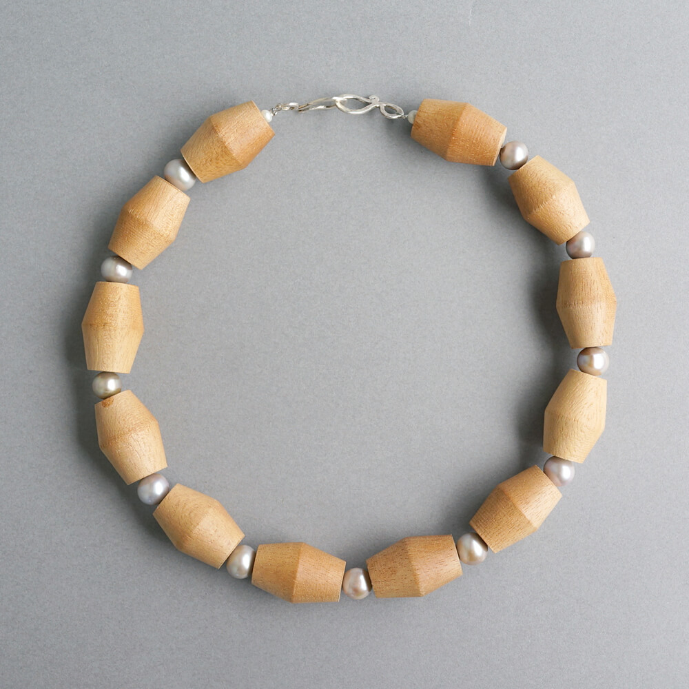 Melanie Decourcey/Beaded Necklace/Wood Beads with Gray Pearls