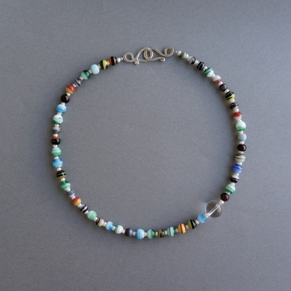 Melanie Decourcey/Beaded Necklace/Venetian Murano glass beads with peal and crystal