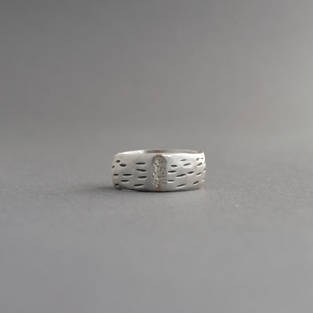 Melanie Decourcey/silver ring with dotted middle line & hashtags