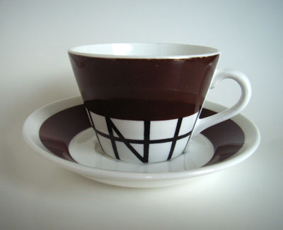 STIG LINDBERG  COFFEE CUP&SAUCER/brown×black