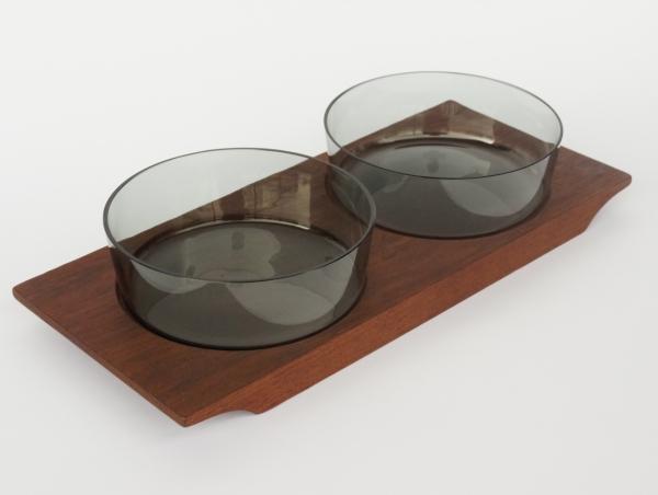 Saara Hopea/Nuutajarvi/Hors D'oeuvre Bowl with Teak Tray