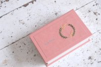 ●fil● 刺繍入り名刺サイズケース ミモザリース模様 ピンク
