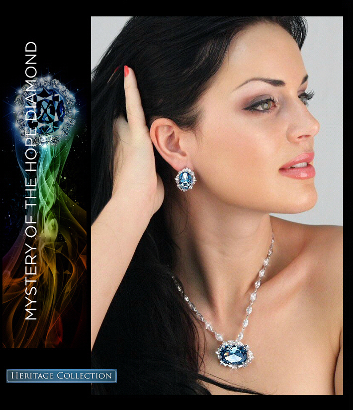 Hope Diamond Necklace & Earrings Blue Diamond cz Heritage Jewelry