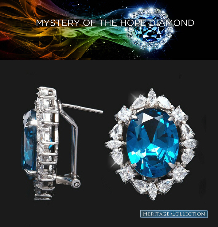 Hope Diamond Earrings Blue Diamond cz Heritage Jewelry